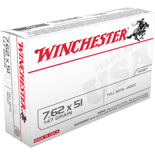 Winchester Ammo Q3130 USA 7.62x51mm NATO 147 GR Full Metal Jacket FMJ 20 Box