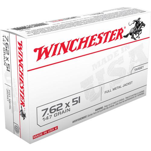Winchester Ammo Q3130 USA 7.62x51mm NATO 147 GR Full Metal Jacket FMJ 20 Box