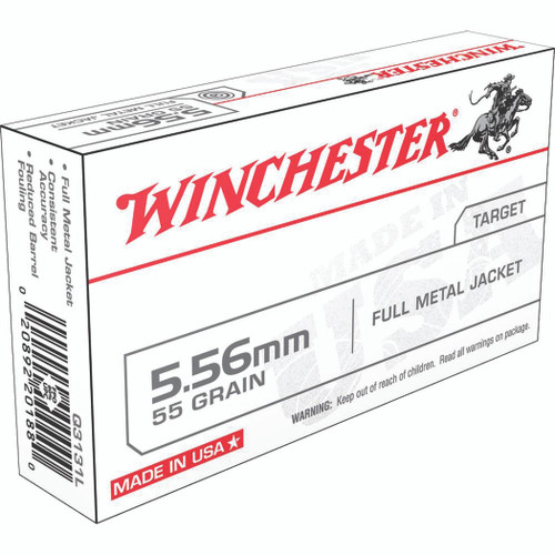 Winchester Ammo Q3131L USA 5.56mm 55 GR Full Metal Jacket FMJ 20 Box