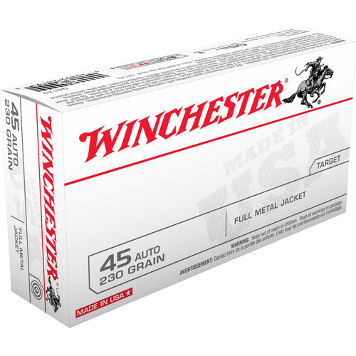 Winchester Ammo Q4170 USA 45 ACP 230 GR Full Metal Jacket FMJ 50 Box