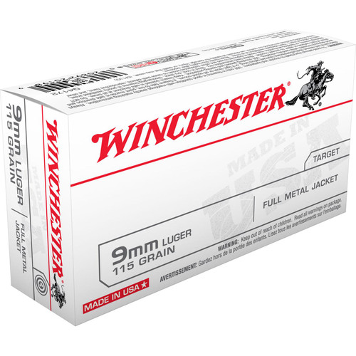 Winchester Ammo Q4172 USA 9mm Luger 115 GR Full Metal Jacket FMJ 50 Box