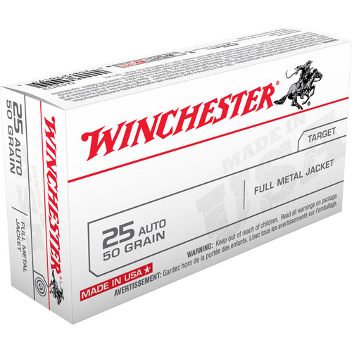 Winchester Ammo Q4203 USA 25 ACP 50 GR Full Metal Jacket FMJ 50 Box