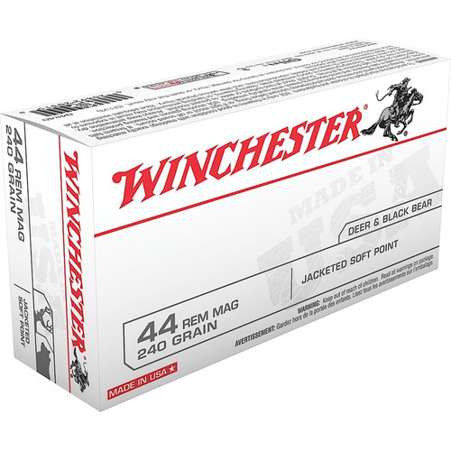 Winchester Ammo Q4240 USA 44 Rem Mag 240 GR Jacketed Soft Point JSP 50 Box