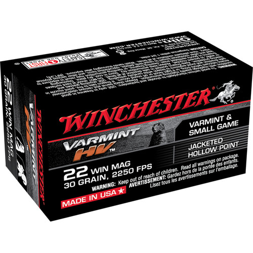 Winchester Ammo S22M2 Varmint HV 22 WMR 30 GR Jacketed Hollow Point JHP 50 Box