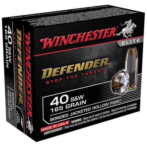 Winchester S40SWPDB Defender 40 S&W 165 GR Bonded JHP 20 Rounds