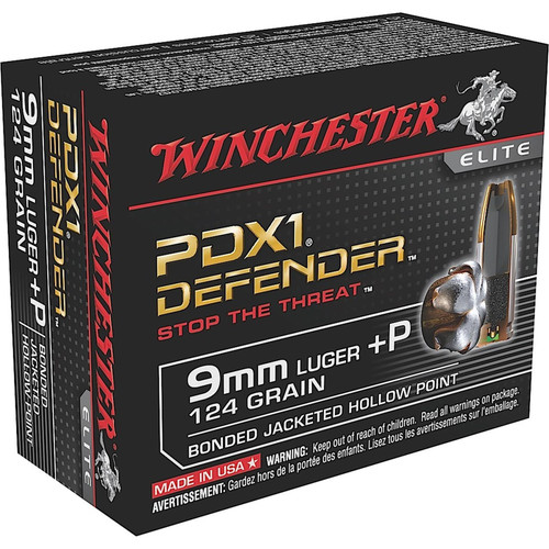 Winchester Ammo S9MMPDB Defender 9mm Luger P 124 GR Bonded Jacket Hollow Point 20 Box