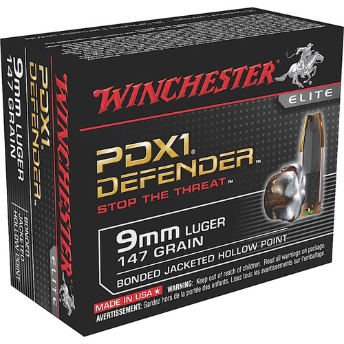 Winchester Ammo S9MMPDB1 Defender 9mm Luger 147 GR Bonded Jacket Hollow Point 20 Box