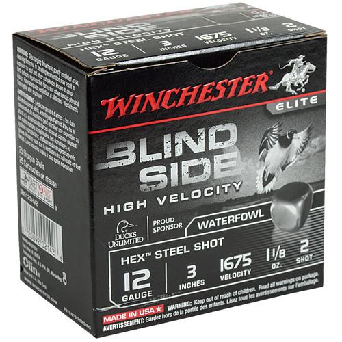 Winchester Ammo SBS123HV2 Blindside High Velocity 12 Gauge 3 1 18 oz 2 Shot 25 Box