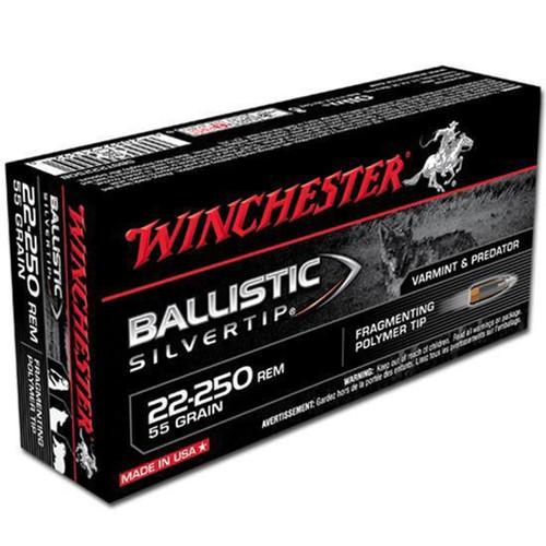 Winchester Ammo SBST22250B Ballistic Silvertip 22250 Remington 55 GR Polymer Tip 20 Box