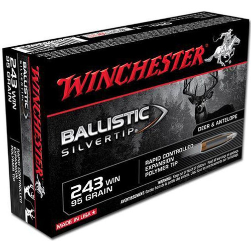 Winchester Ammo SBST243A Ballistic Silvertip 243 Winchester 95 GR Polymer Tip 20 Box