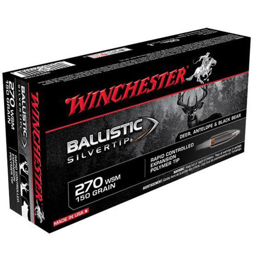 Winchester Ammo SBST2705A Ballistic Silvertip 270 WSM 150 GR Polymer Tip 20 Box