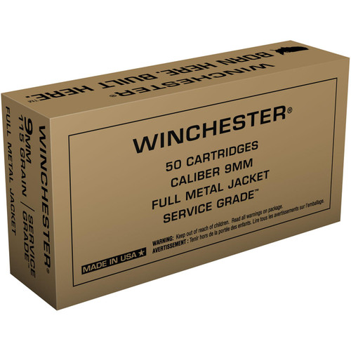 Winchester Ammo SG9W Service Grade 9mm Luger 115 GR Full Metal Jacket FMJ 50 Box