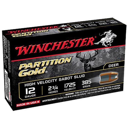 Winchester Ammo SSP12 Partition Gold High Velocity Sabot Slug 12 Gauge 2.75 385 GR 5 Box