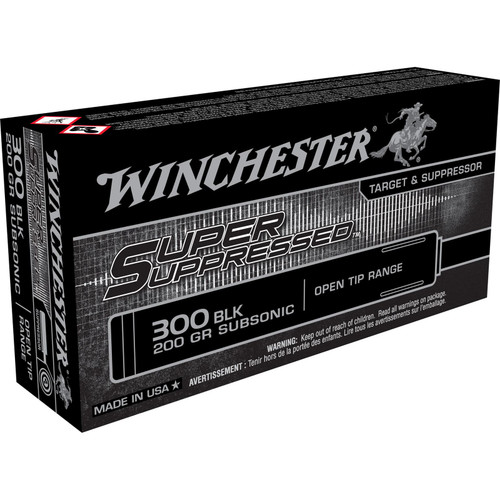 Winchester Ammo SUP300BLK Super Suppressed 300 AAC Blackout 200 GR Open Tip Range 20 Box