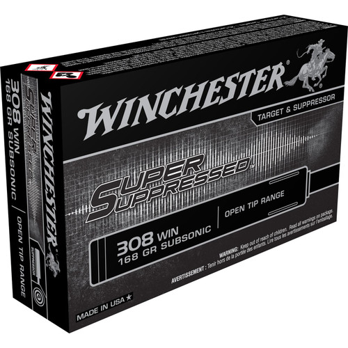 Winchester Ammo SUP308 Super Suppressed 308 Winchester 168 GR Open Tip Range Subsonic 20 Box