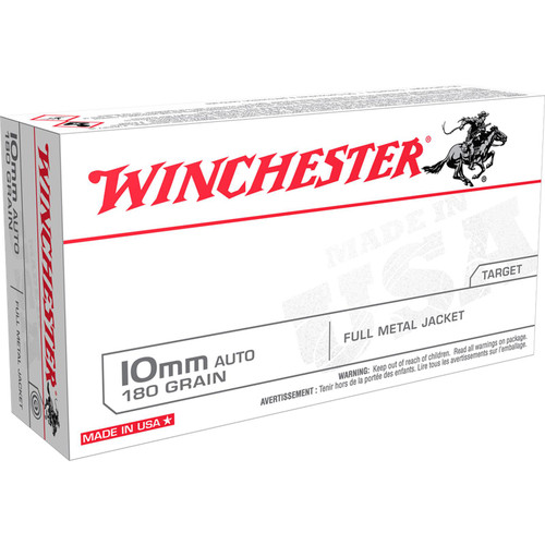 Winchester Ammo USA10MM USA 10mm Auto 180 GR Full Metal Jacket FMJ 50 Box