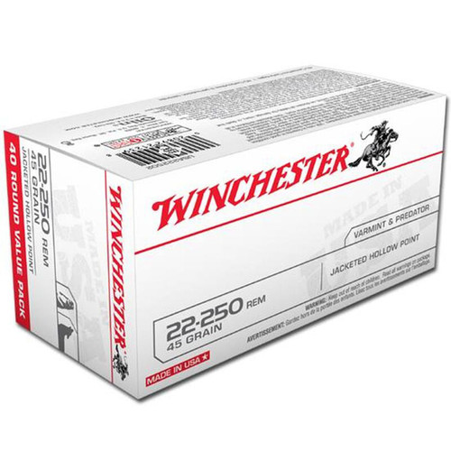 Winchester Ammo USA222502 USA 22250 Remington 45 GR Jacketed Hollow Point JHP 40 Box