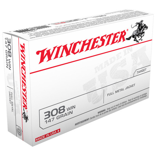 Winchester Ammo USA3081 USA 308 Winchester 147 GR Full Metal Jacket FMJ 20 Box