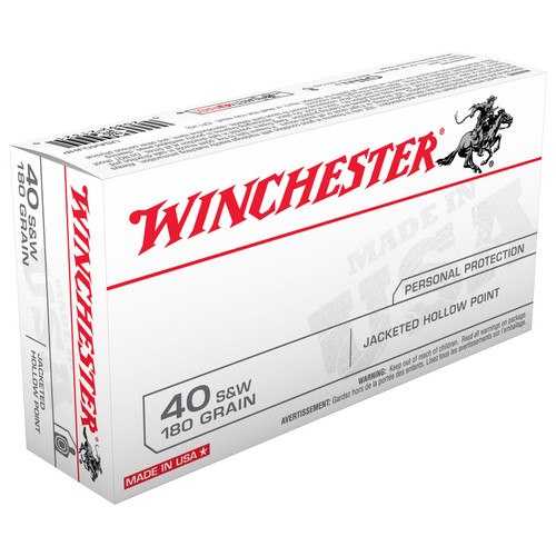 Winchester Ammo USA40JHP USA 40 SW 180 GR Jacketed Hollow Point JHP 50 Box