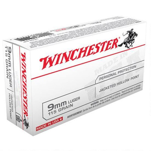 Winchester Ammo USA9JHP USA 9mm Luger 115 GR Jacketed Hollow Point JHP 50 Box