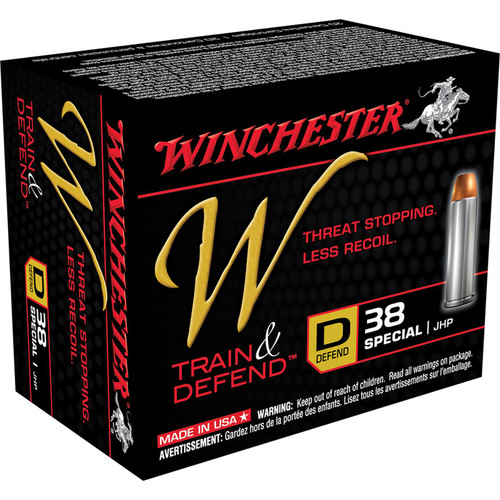 Winchester Ammo W38SPLD W Train And Defend 38 Special 130 GR Jacketed Hollow Point JHP 20 Box