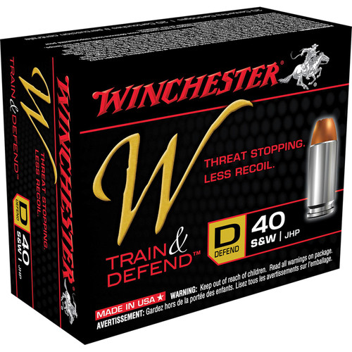 Winchester Ammo W40SWD W Train And Defend 40 SW 180 GR Jacketed Hollow Point JHP 20 Box