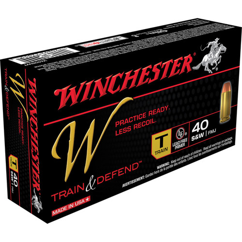 Winchester Ammo W40SWT W Train And Defend 40 SW 180 GR Full Metal Jacket FMJ 50 Box