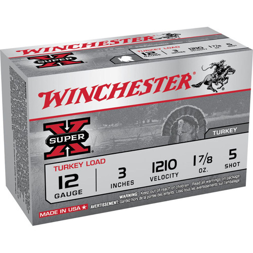 Winchester Ammo X123MT5 SuperX Turkey Load 12 Gauge 3 1 78 oz 5 Shot 10 Box