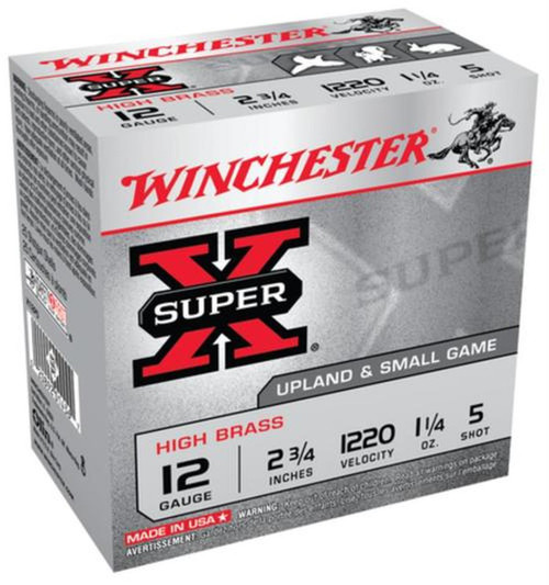 Winchester Ammo X12P5 SuperX High Brass 12 Gauge 2.75 1 14 oz 5 Shot 25 Box