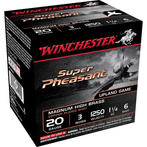 Winchester Ammo X203PH6 Super Pheasant HV High Brass 20 Gauge 3 1 14 oz 6 Shot 25 Box