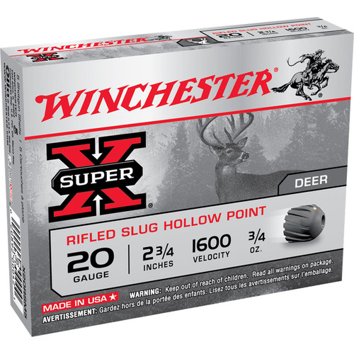 Winchester Ammo X20RSM5 SuperX Rifled Slug Hollow Point 20 Gauge 2.75 34 oz 5 Box