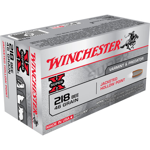 Winchester Ammo X218B SuperX 218 Bee 46 GR Hollow Point HP 50 Box