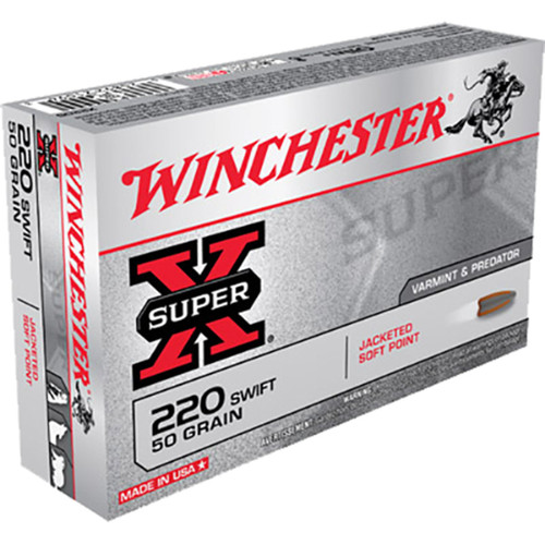 Winchester Ammo X220S SuperX 220 Swift 50 GR Pointed Soft Point PSP 20 Box