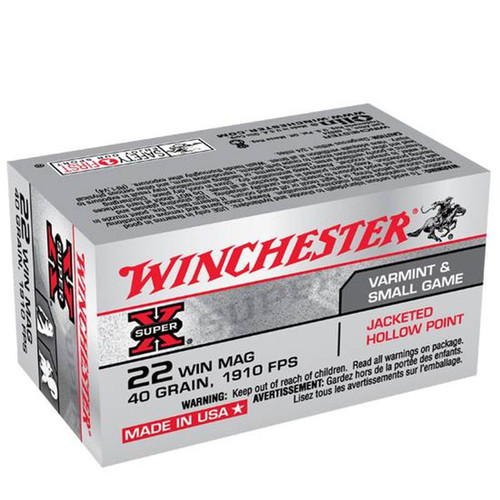Winchester Ammo X22MH SuperX 22 WMR 40 GR Jacketed Hollow Point JHP 50 Box