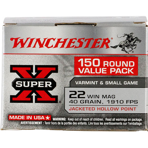 Winchester Ammo X22MH150 SuperX 22 WMR 40 GR Jacketed Hollow Point JHP 150 Box