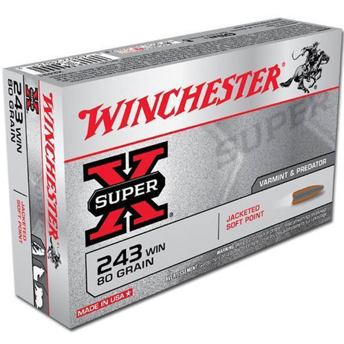 Winchester Ammo X2431 SuperX 243 Winchester 80 GR Pointed Soft Point PSP 20 Box