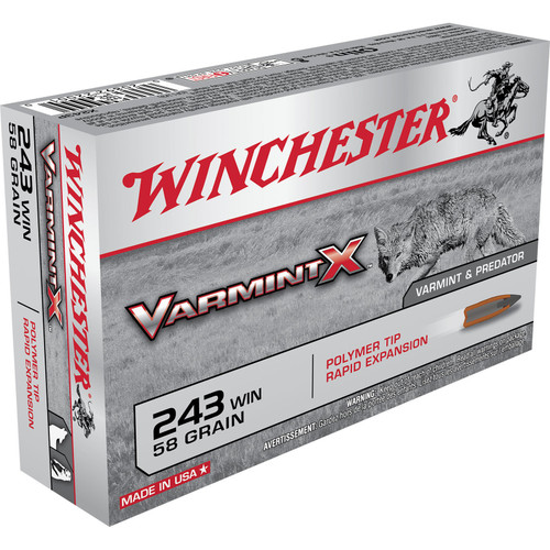 Winchester Ammo X243P Varmint X 243 Winchester 58 GR Polymer Tip 20 Box