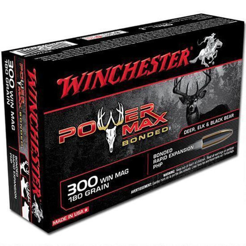 Winchester Ammo X30WM2BP Power Max Bonded 300 Win Mag 180 GR Protected Hollow Point 20 Box