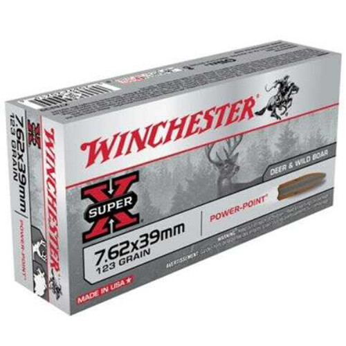Winchester Ammo X76239 SuperX 7.62X39mm 123 GR Pointed Soft Point PSP 20 Box