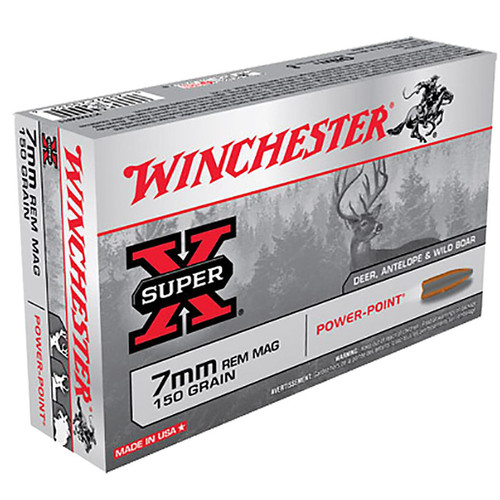 Winchester Ammo X7MMR1 SuperX 7mm Rem Mag 150 GR PowerPoint PP 20 Box