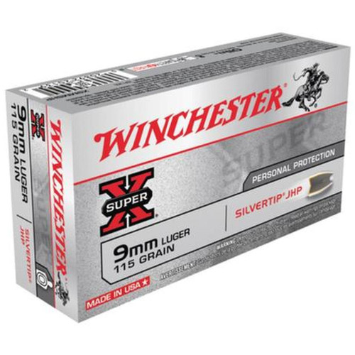 Winchester Ammo X9MMSHP SuperX 9mm Luger 115 GR Silvertip Hollow Point 50 Box