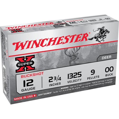 Winchester Ammo XB1200 SuperX 12 Gauge 2.75 9 Pellets 00 Buck Shot 5 Box