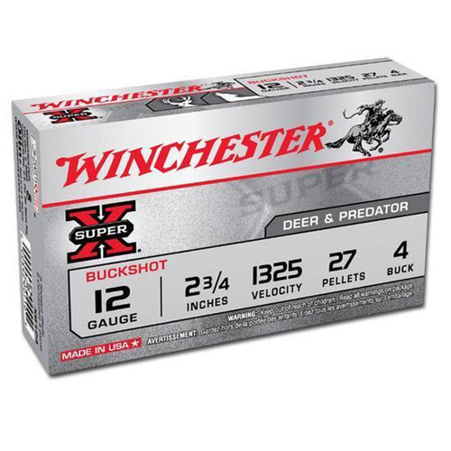 Winchester Ammo XB124 SuperX 12 Gauge 2.75 27 Pellets 4 Buck Shot 5 Box