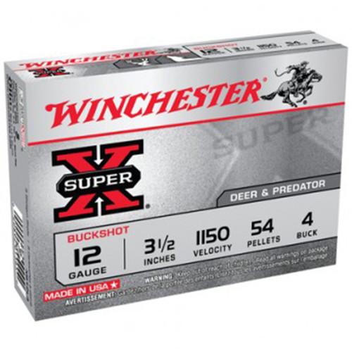 Winchester Ammo XB12L4 SuperX 12 Gauge 3.5 54 Pellets 4 Buck Shot 5 Box
