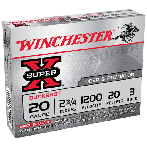 Winchester Ammo XB203 SuperX 20 Gauge 2.75 20 Pellets 3 Buck Shot 5 Box