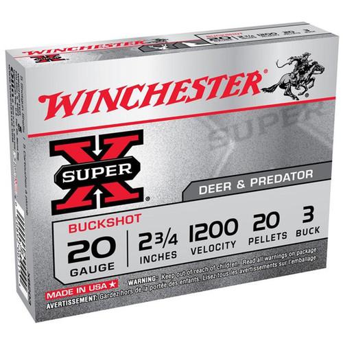 Winchester Ammo XB203 SuperX 20 Gauge 2.75 20 Pellets 3 Buck Shot 5 Box