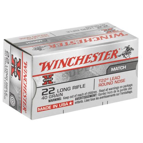 Winchester Ammo XT22LR SuperX Match 22 LR 40 GR Lead Round Nose LDRN 50 Box
