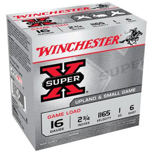 Winchester Ammo XU166 SuperX Game Load 16 Gauge 2.75 1 oz 6 Shot 25 Box