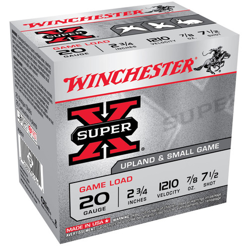 Winchester Ammo XU207 SuperX Game Load 20 Gauge 2.75 78 oz 7.5 Shot 25 Box