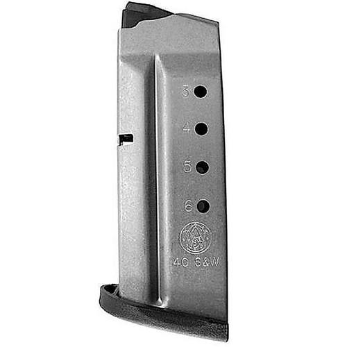 Smith & Wesson 199330000 M&P Shield 40 S&W 6 Round Aluminum Silver Finish Magazine
